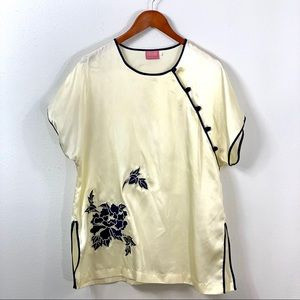 Vintage 80s Cassini Asian Embroidered Satin Top